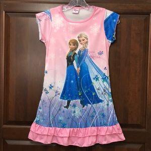 DISNEY Frozen Anna & Elsa Ruffled Cap Sleeve Dress